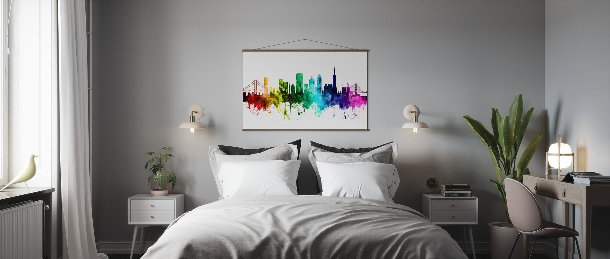 San Francisco City Skyline Rainbow - Poster - Bedroom