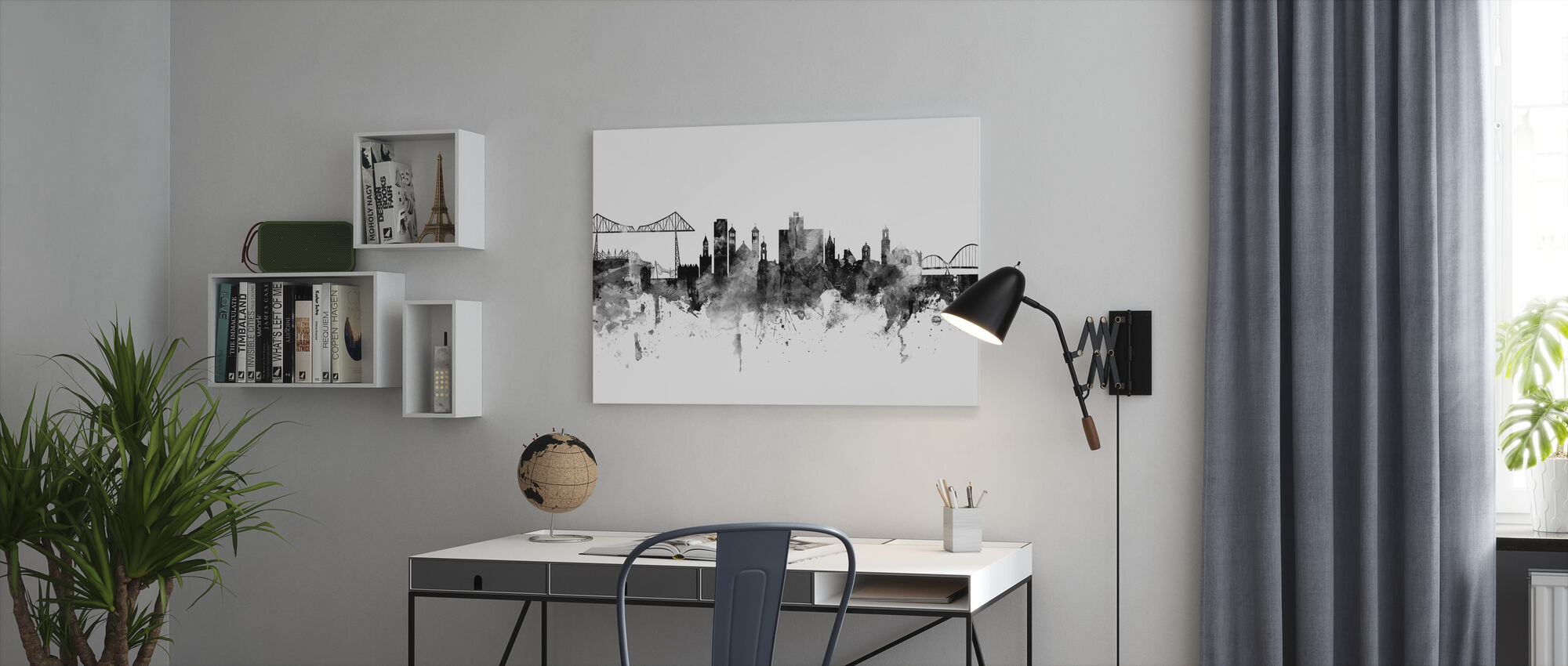 Middlesbrough Skyline, black and white - Canvas print - Office