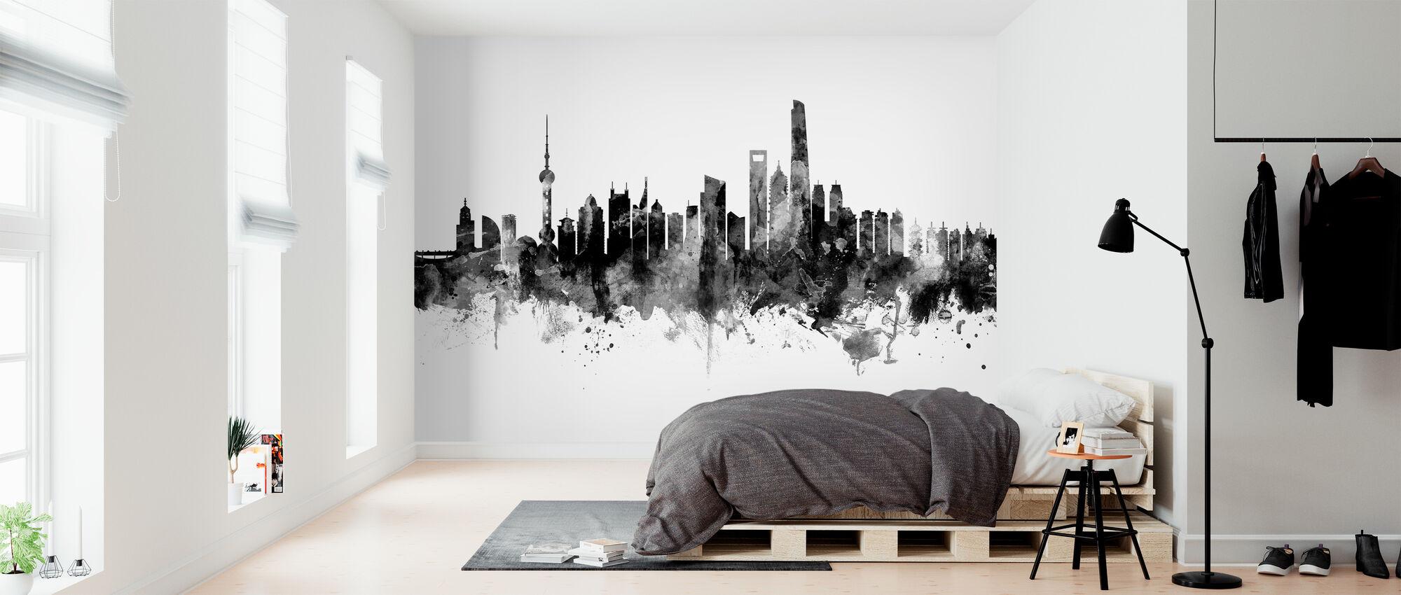 Shanghai Skyline, musta ja valkoinen - Tapetti - Makuuhuone