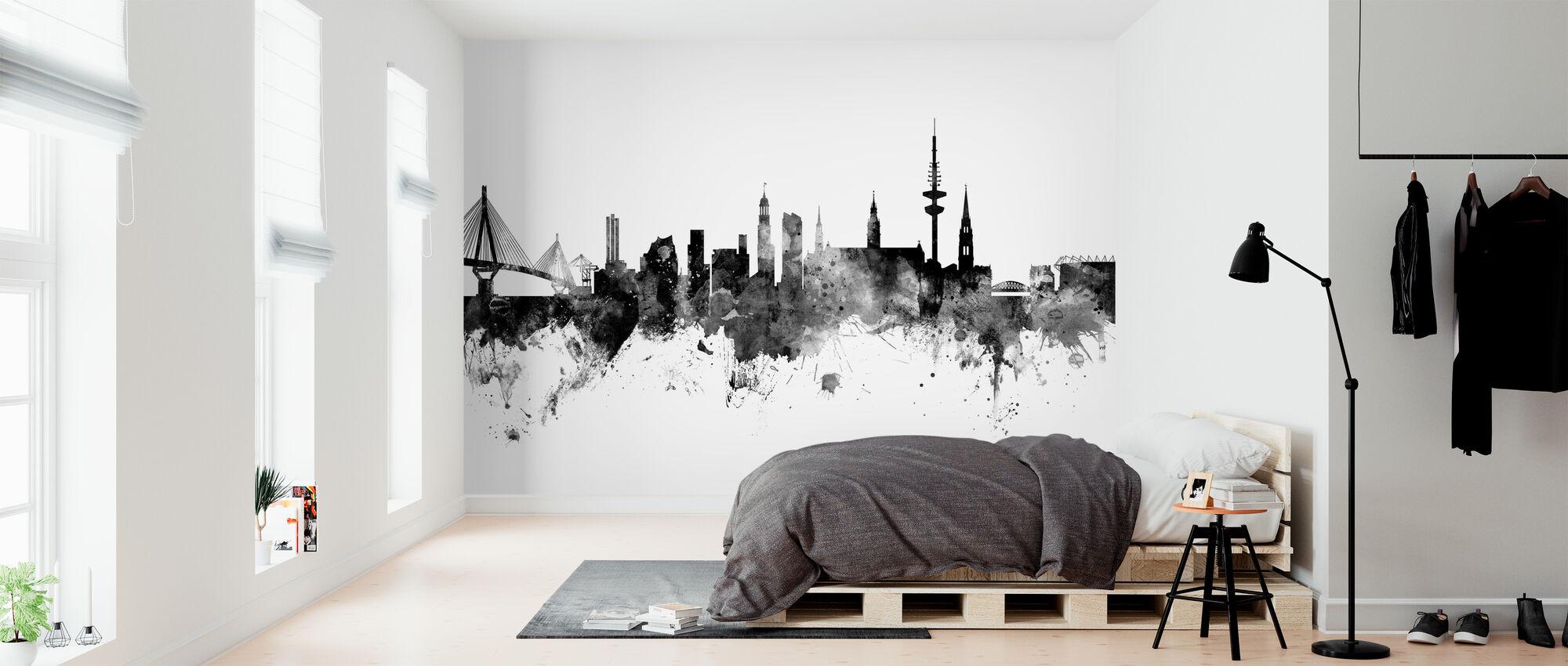Hamburg Skyline, schwarz/weiß - Tapete - Schlafzimmer