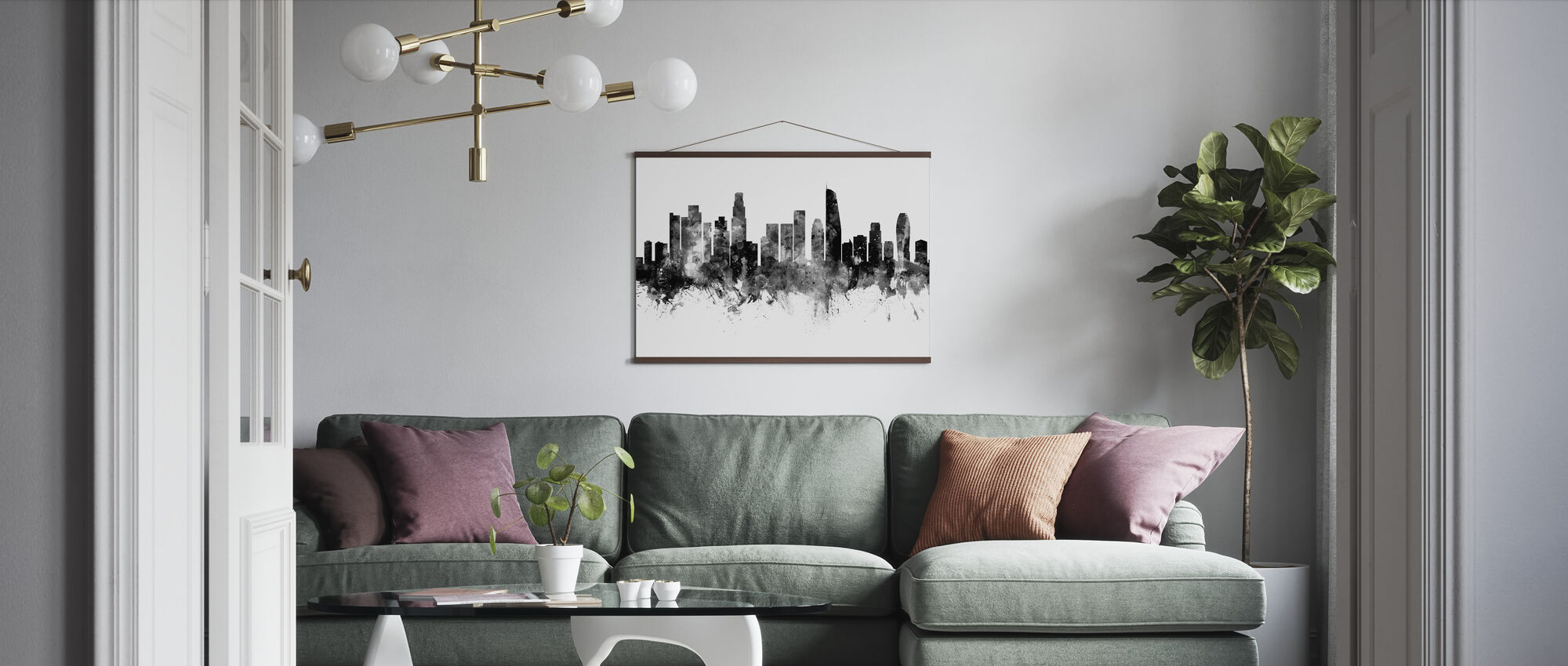 Los Angeles California Skyline, black and white 2 - Poster - Living Room