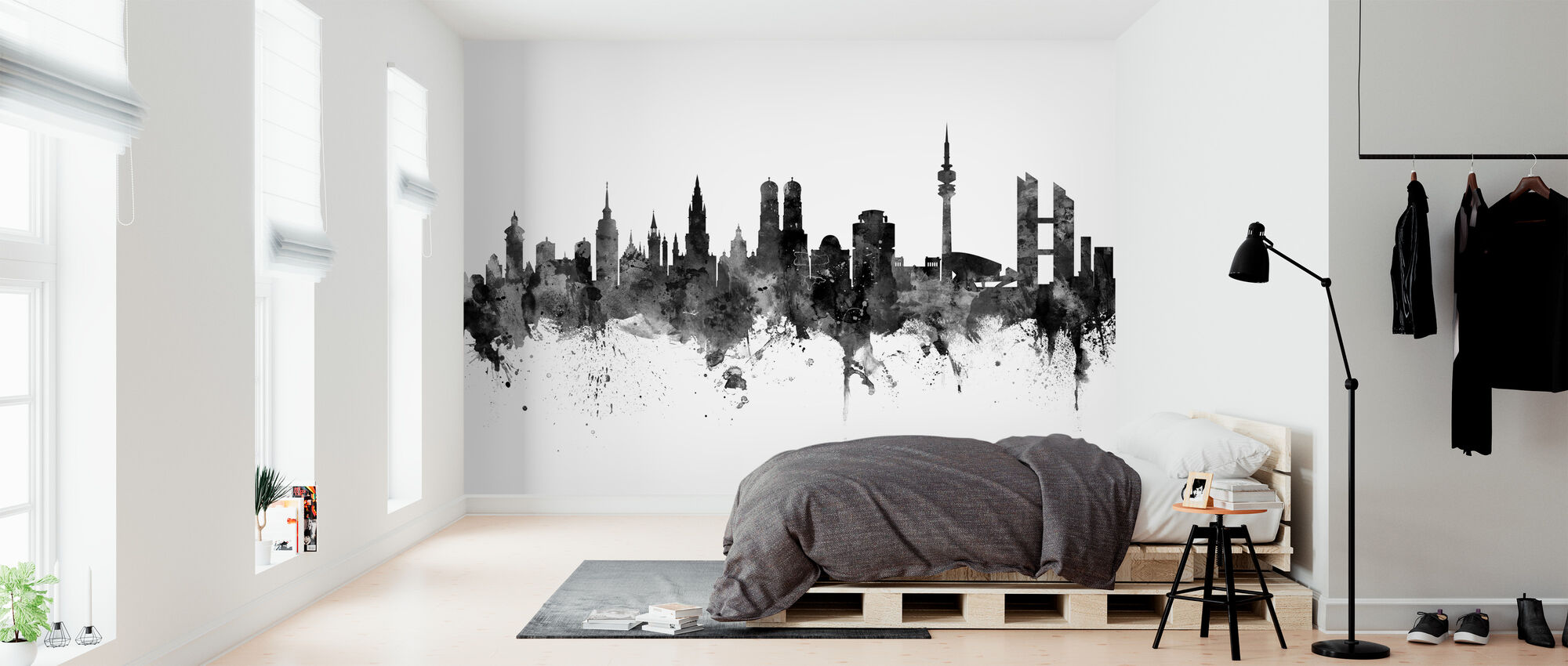 Munich Skyline, black and white - Wallpaper - Bedroom