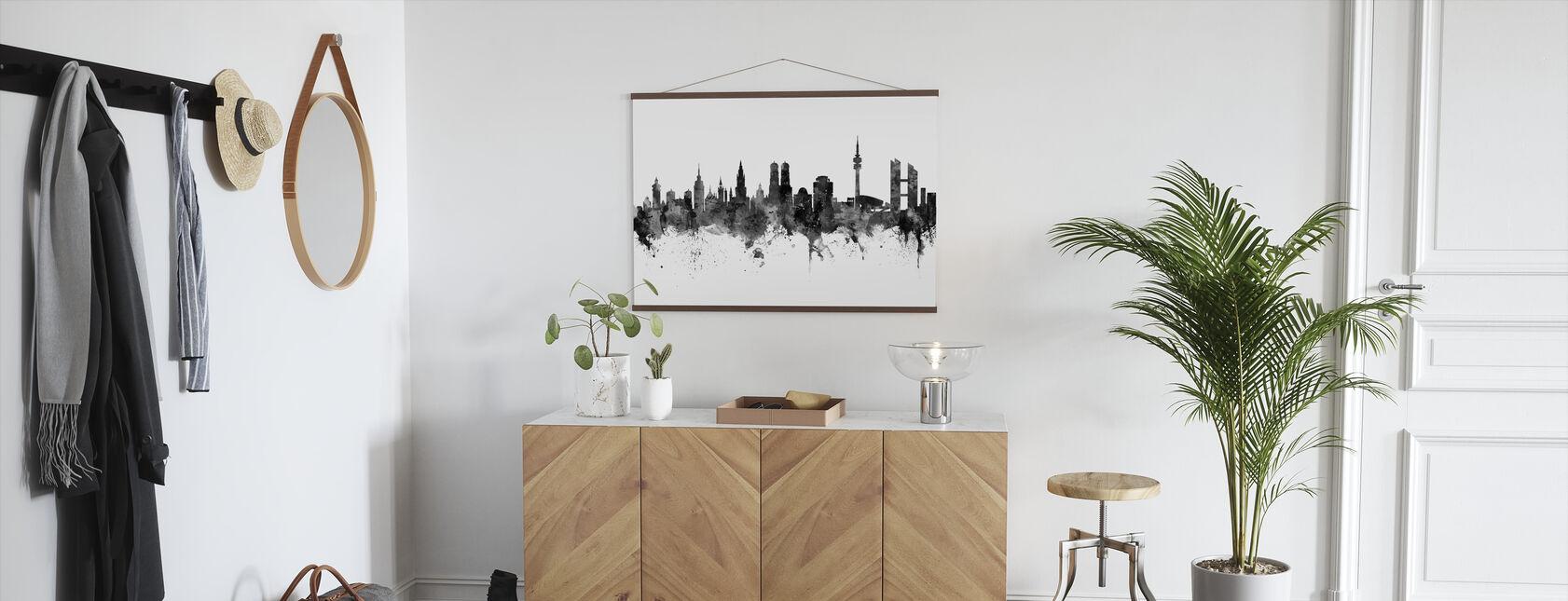 München Skyline, schwarz/weiß - Poster - Flur