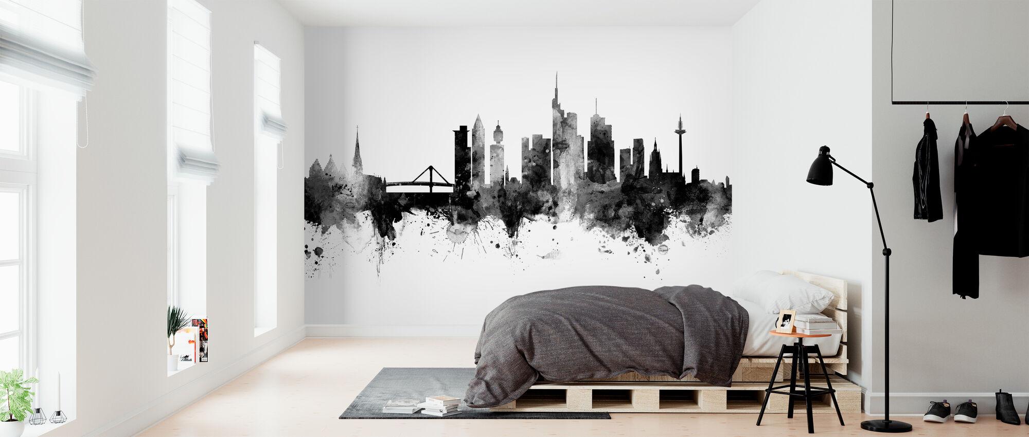 Frankfurter Skyline, schwarz/weiß - Tapete - Schlafzimmer