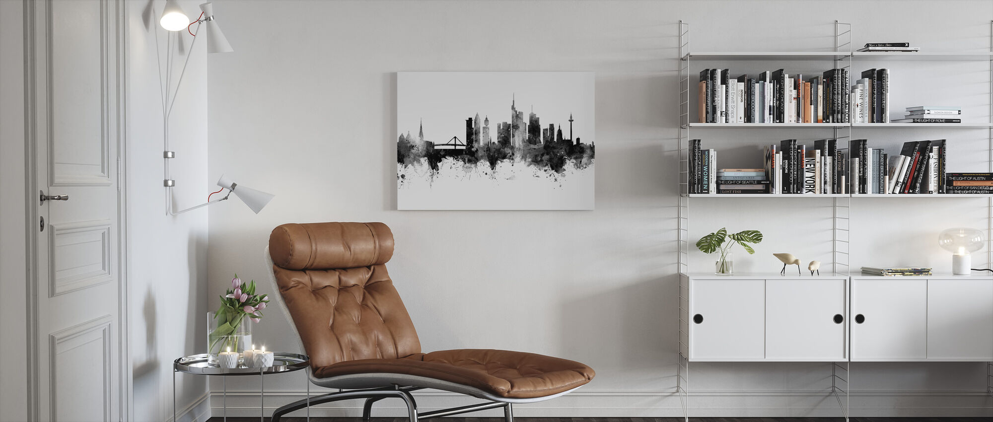 Frankfurt Skyline, black and white - Canvas print - Living Room