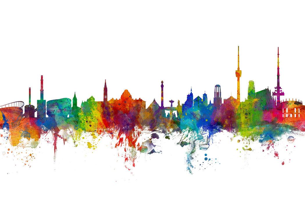 Stuttgart skyline bestellen sie ihr leinwandbild online photowall - Leinwandbilder bestellen ...