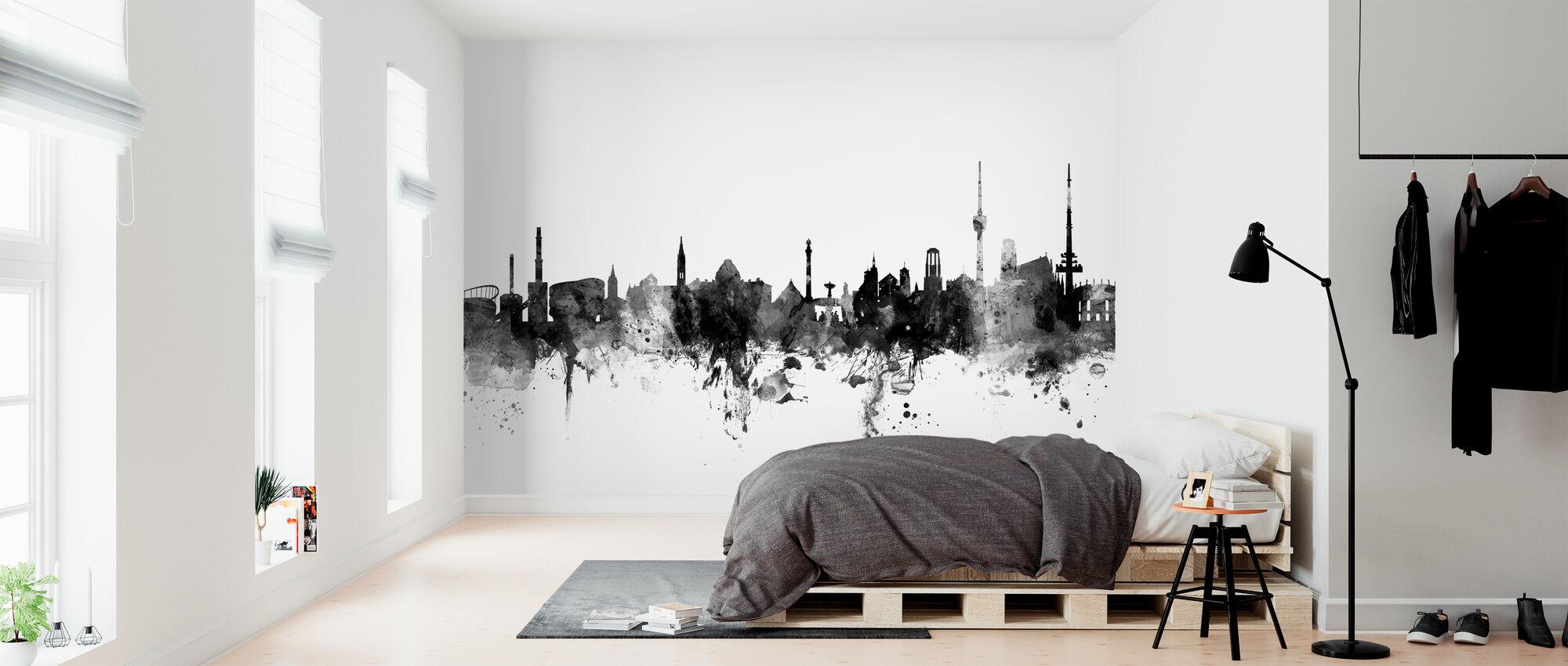 Stuttgart Skyline, schwarz/weiß - Tapete - Schlafzimmer