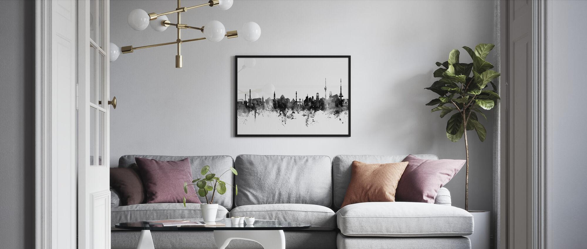 Stuttgart Skyline, schwarz/weiß - Gerahmtes bild - Wohnzimmer