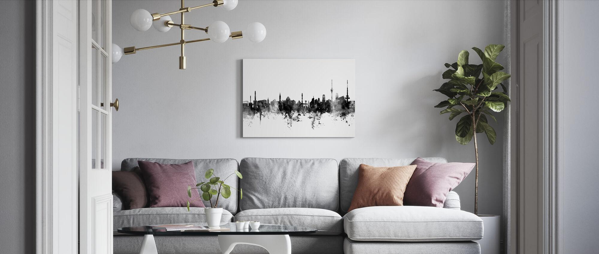 Skyline van Stuttgart, zwart-wit - Canvas print - Woonkamer