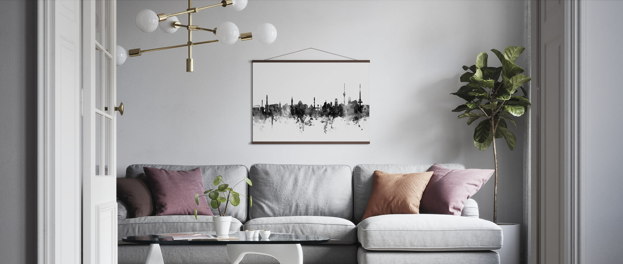 Stuttgart Skyline, black and white - Poster - Living Room