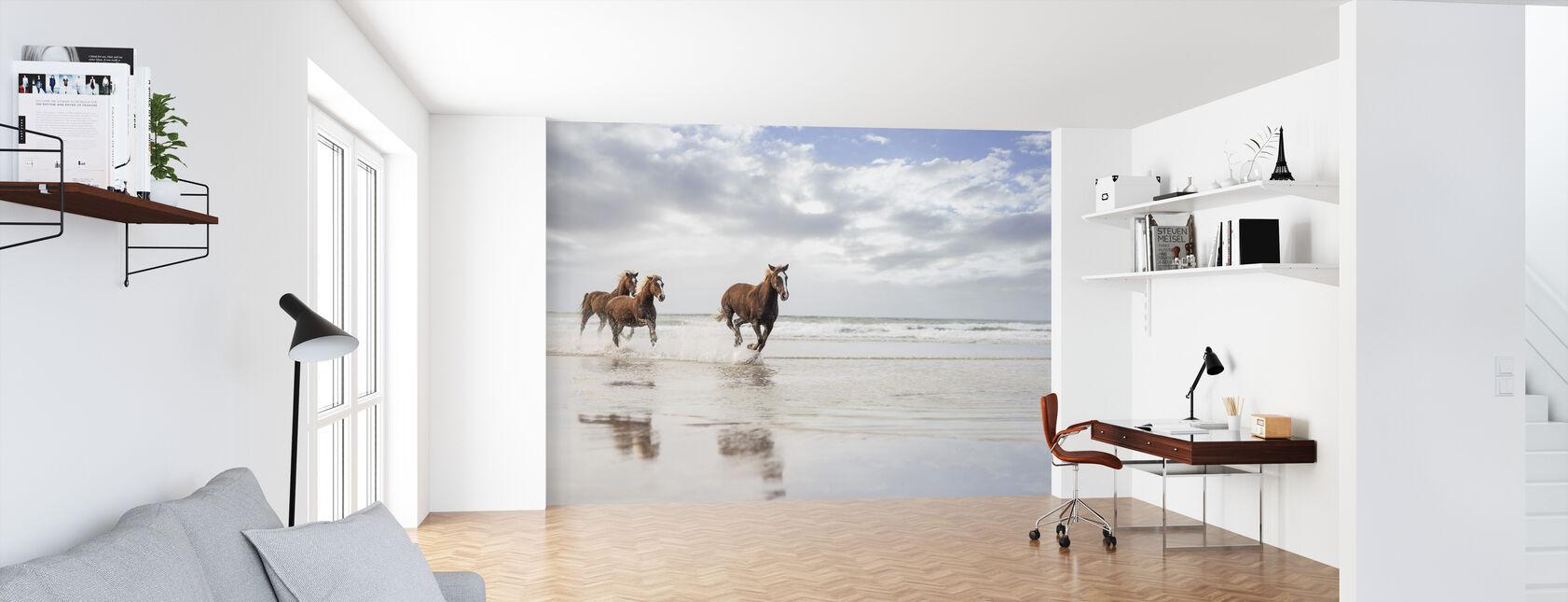 Paarden op Zuid-African Beach - Behang - Kantoor