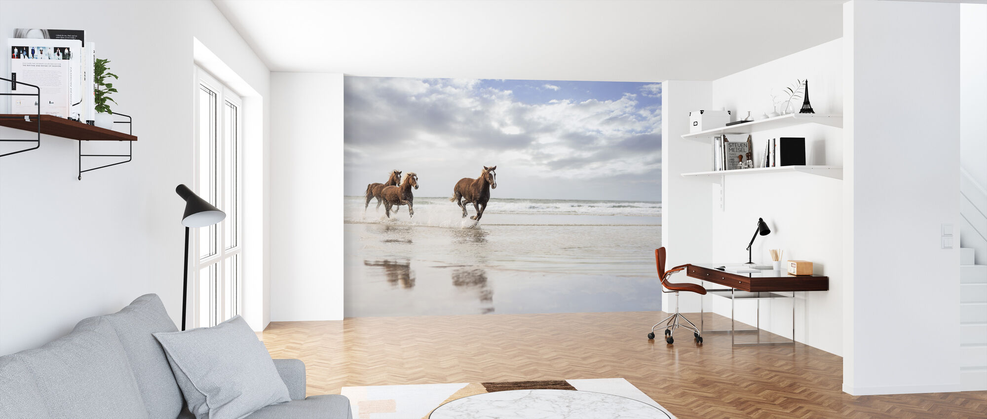 Horses on South African Beach - Wallpaper - Office