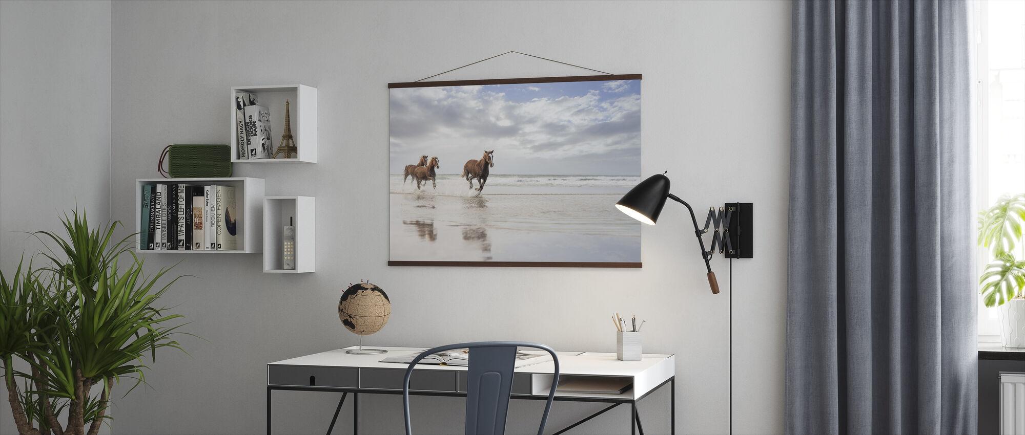 Paarden op Zuid-African Beach - Poster - Kantoor