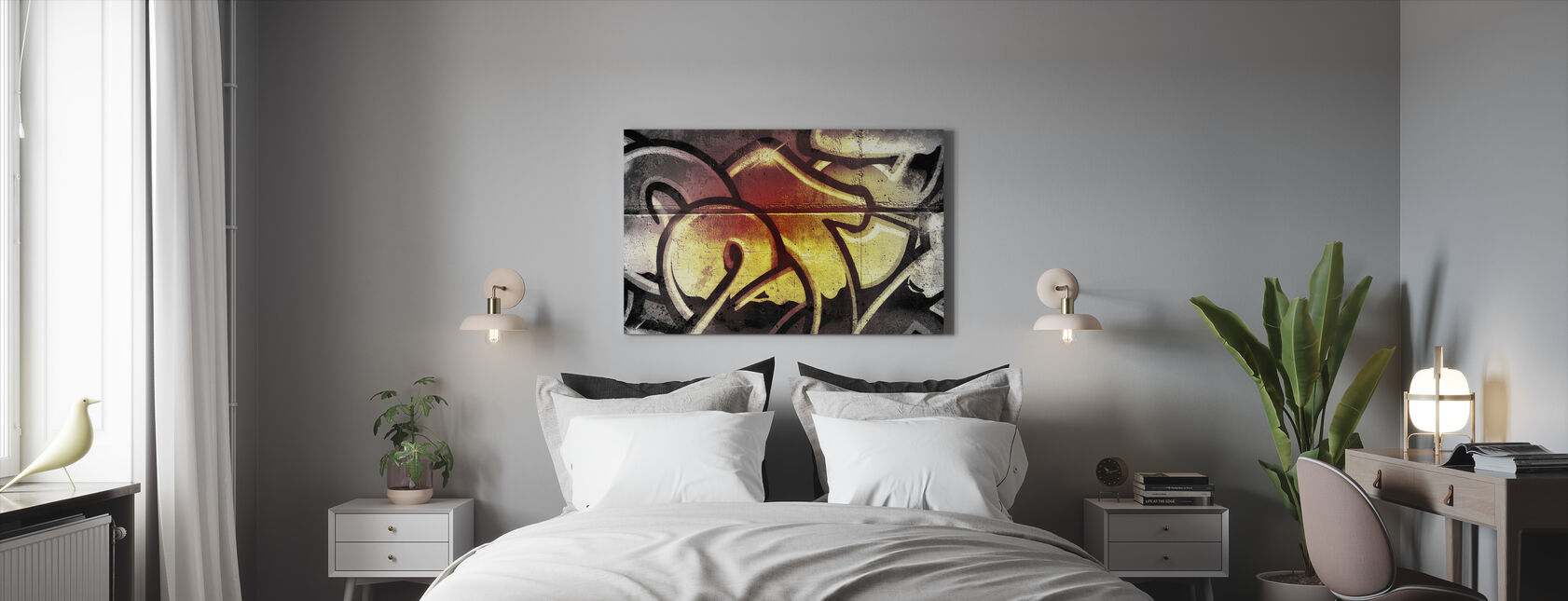 Golden Graffiti - Canvas print - Bedroom