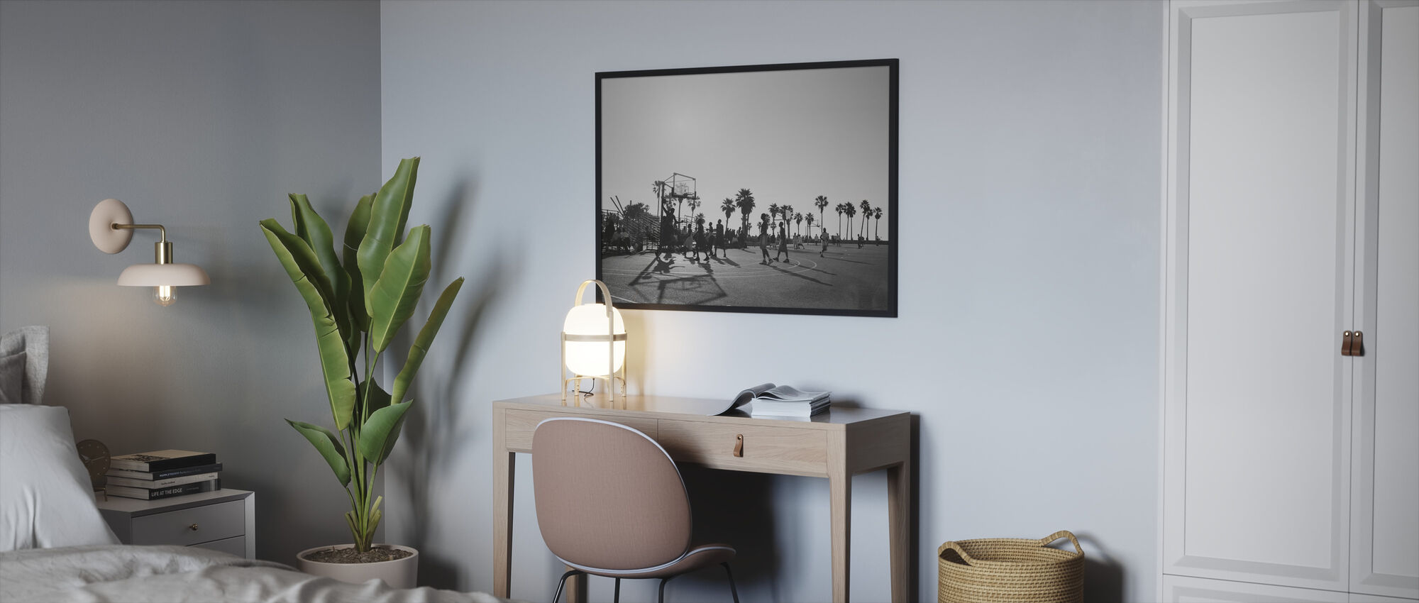 Basketball in the Streets of Los Angeles, California - Framed print - Bedroom