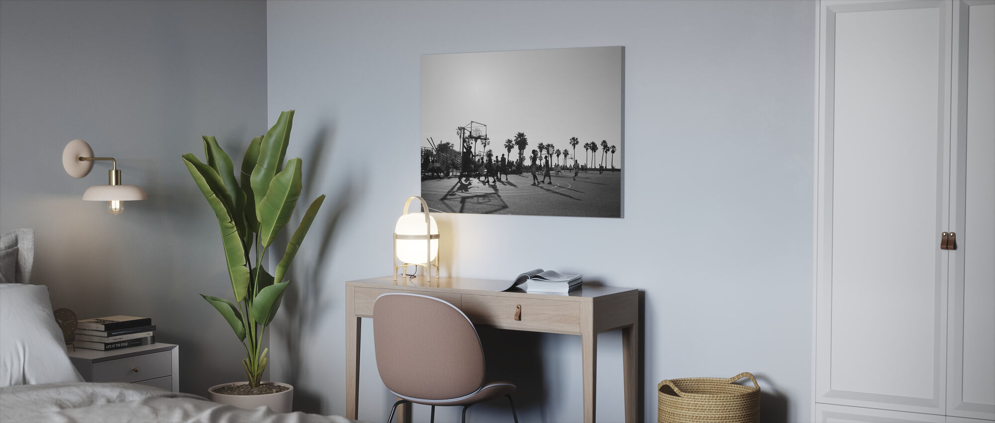 Basketball in the Streets of Los Angeles, California - Canvas print - Office