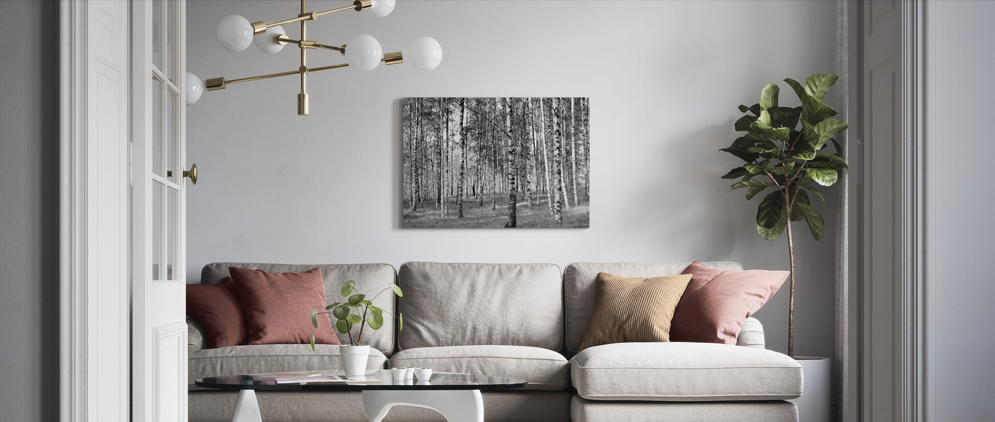 Birch Trees, black and white - Canvas print - Living Room