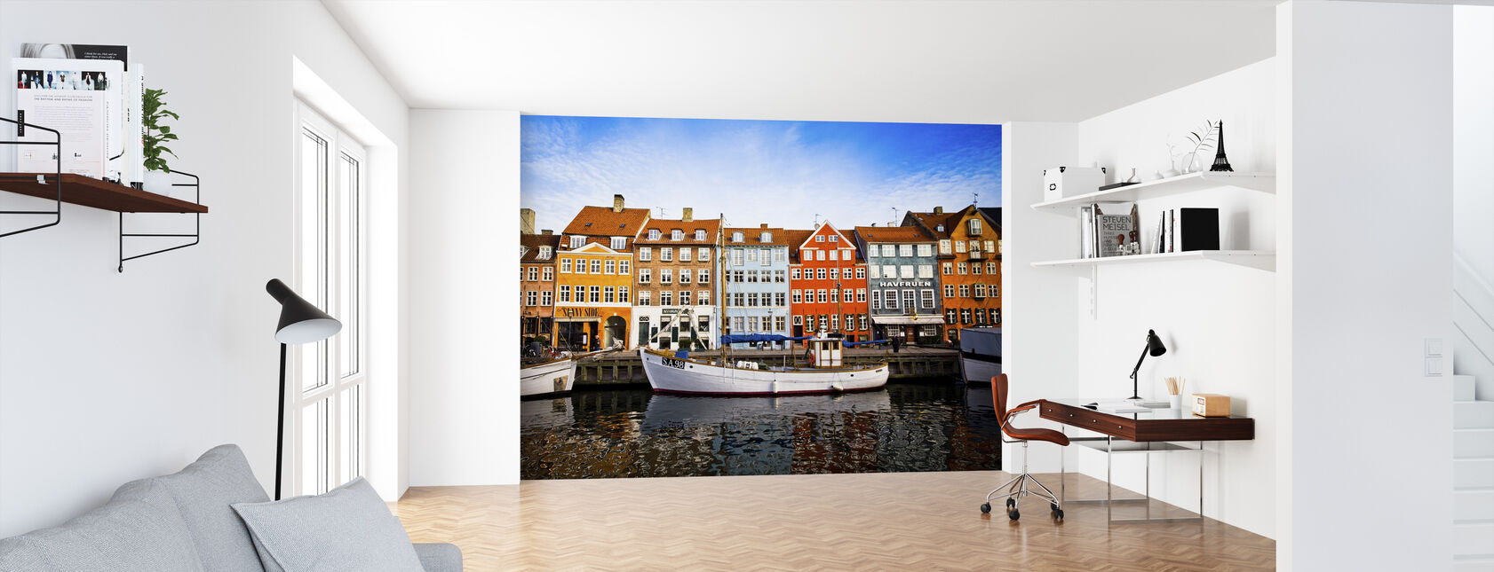 Boats in Nyhavn, Copenhagen, Denmark - Wallpaper - Office