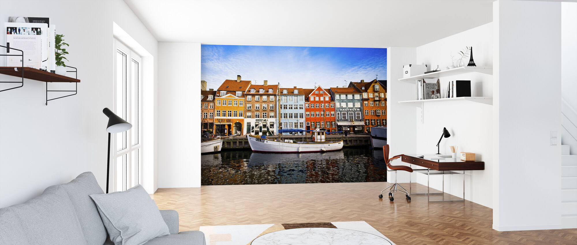 Boats in Nyhavn, Copenhagen, Denmark - Wallpaper - Office