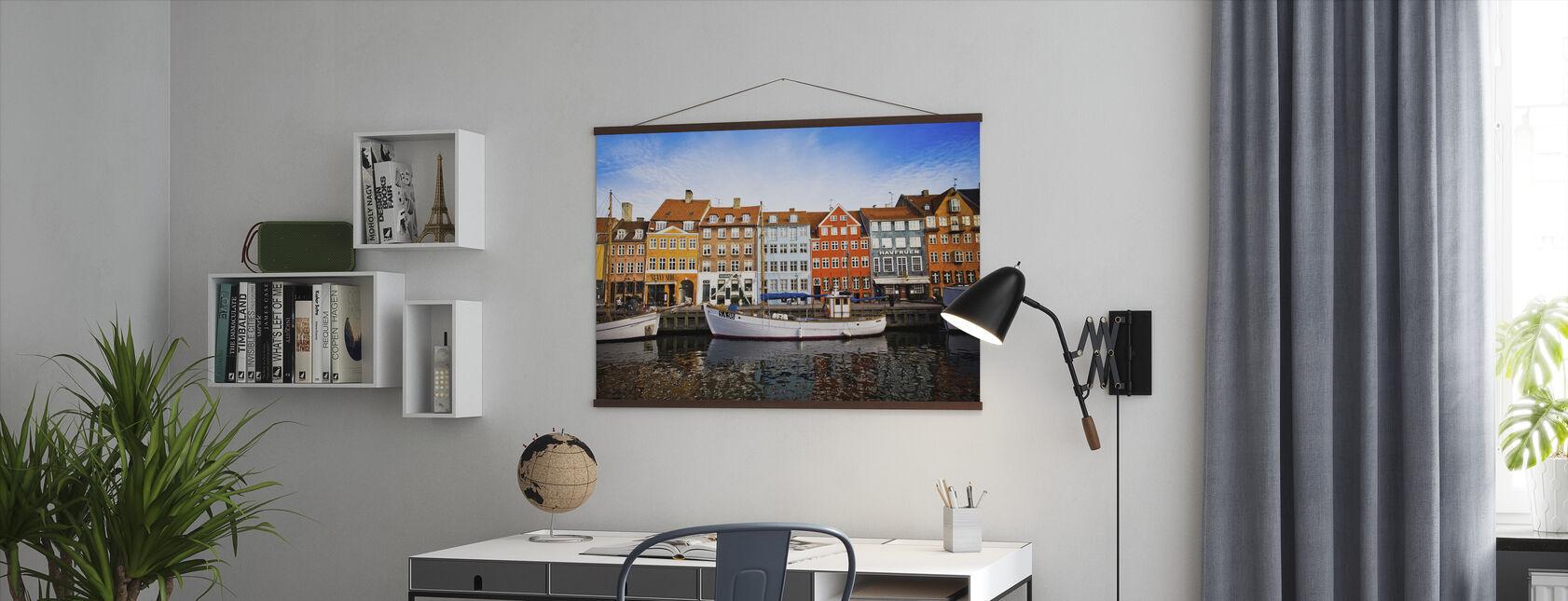Boten in Nyhavn, Kopenhagen, Denemarken - Poster - Kantoor