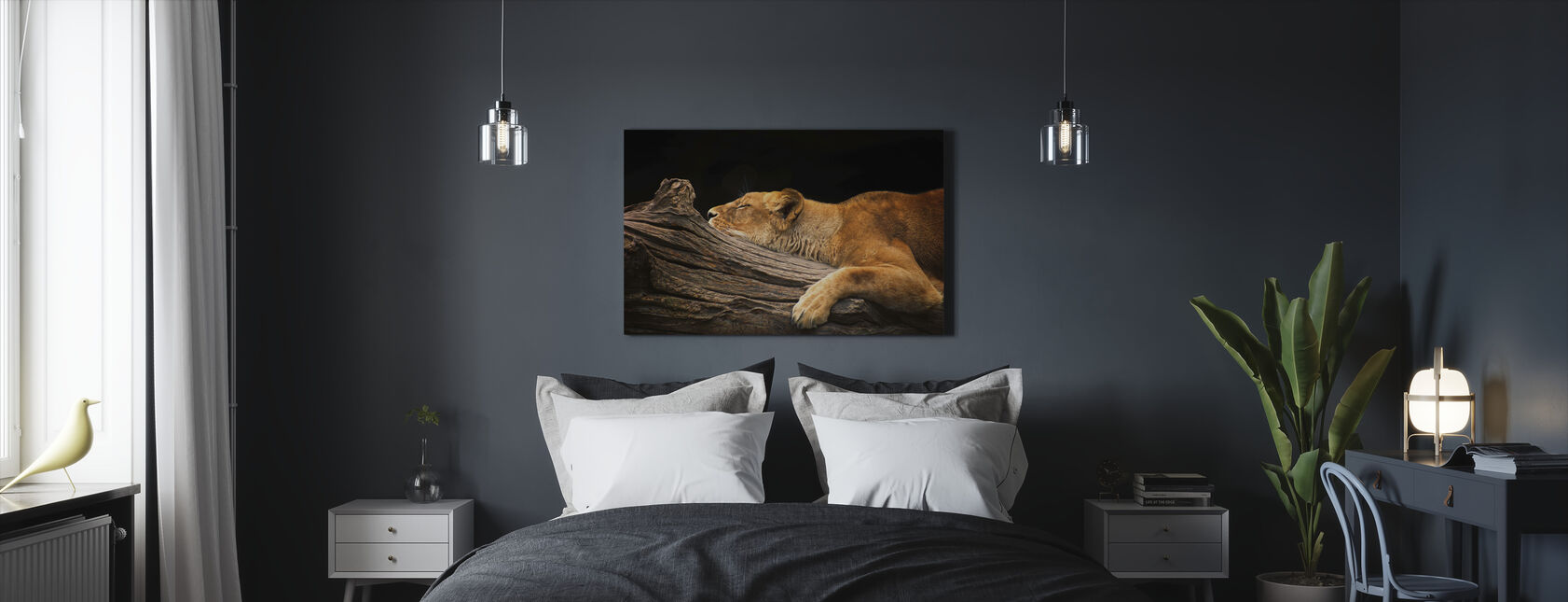 Løve på logg - Lerretsbilde - Soverom