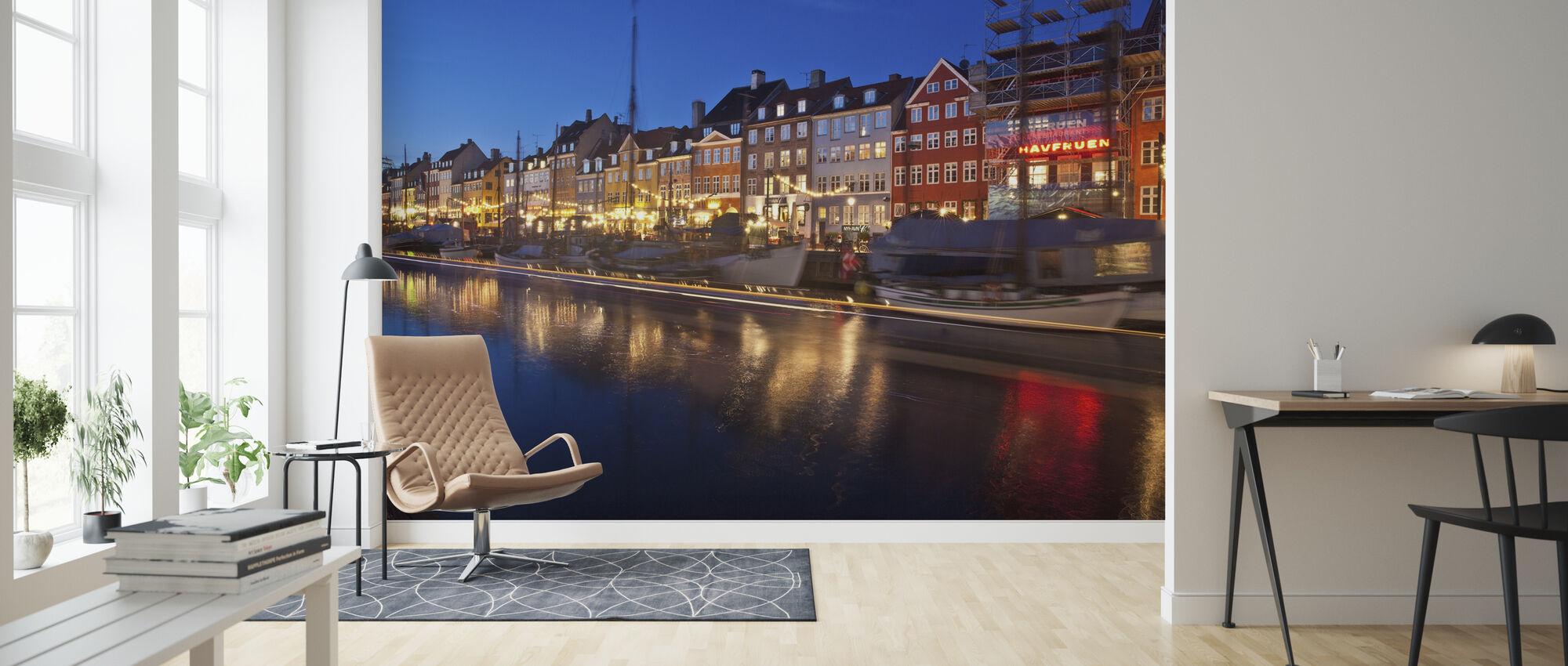 Nat i Nyhavn, København, Danmark - Tapet - Stue