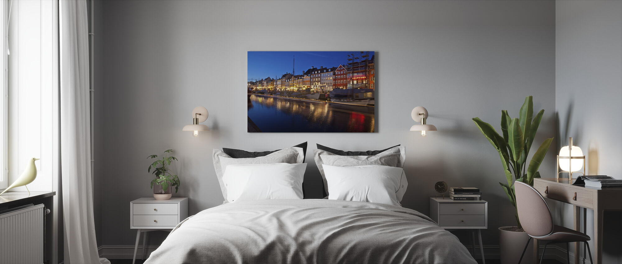 Night in Nyhavn, Copenhagen, Denmark - Canvas print - Bedroom