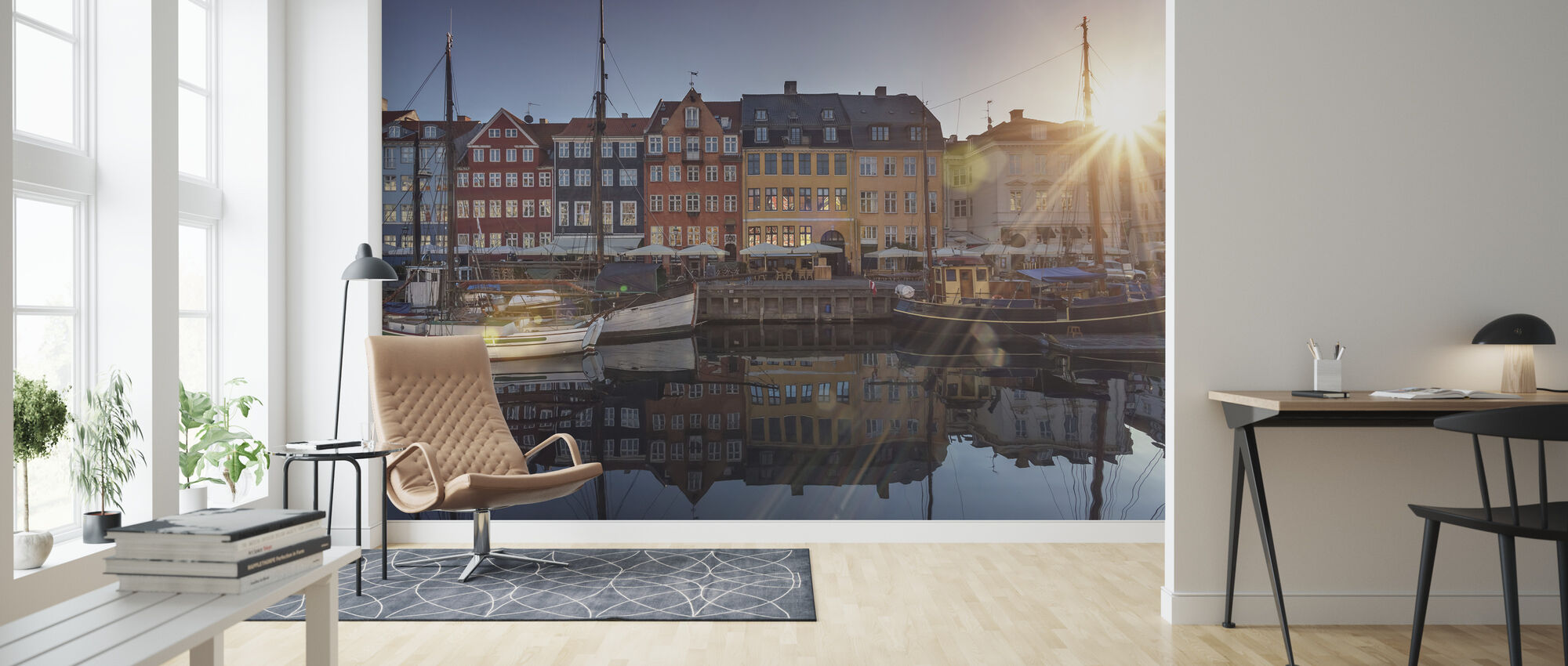 Sunset in Nyhavn, Copenhagen, Denmark - Wallpaper - Living Room