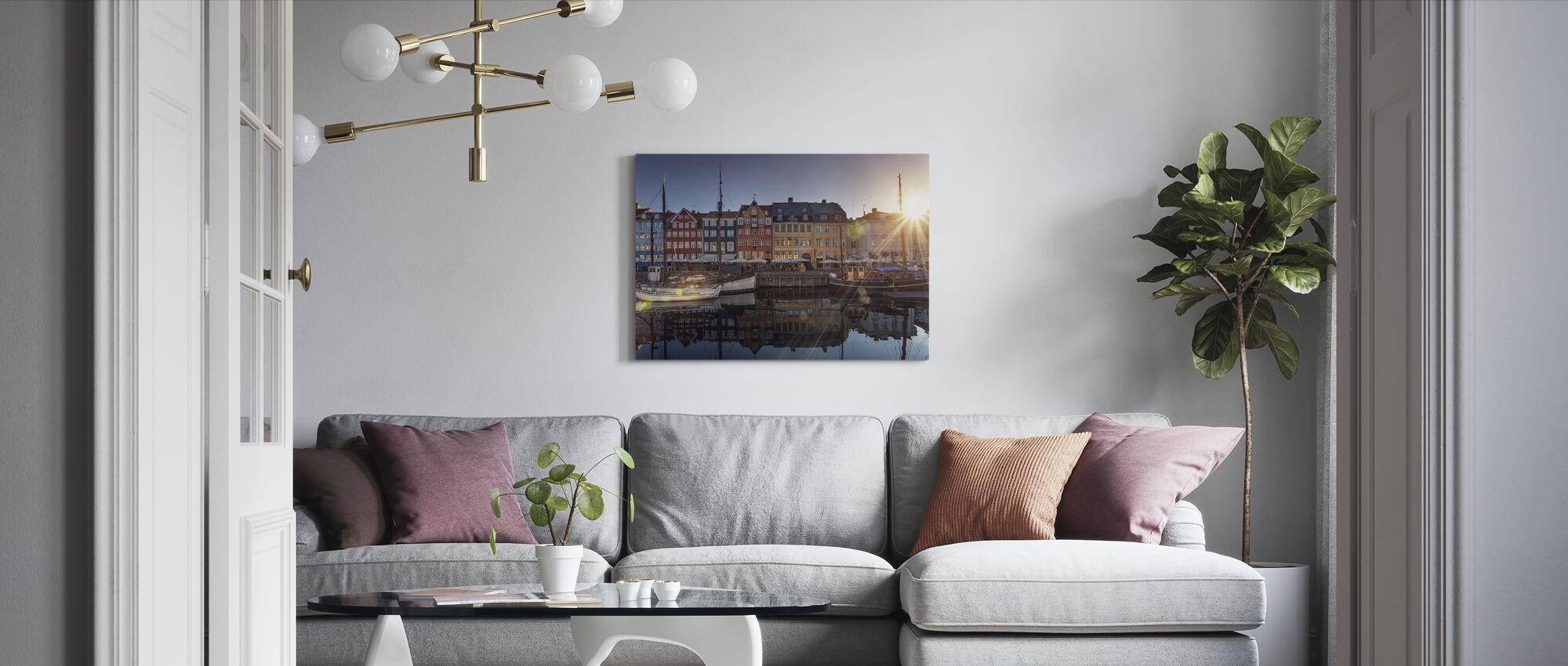 Sunset in Nyhavn, Copenhagen, Denmark - Canvas print - Living Room