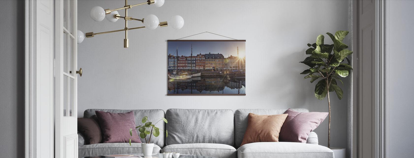 Sunset in Nyhavn, Copenhagen, Denmark - Poster - Living Room