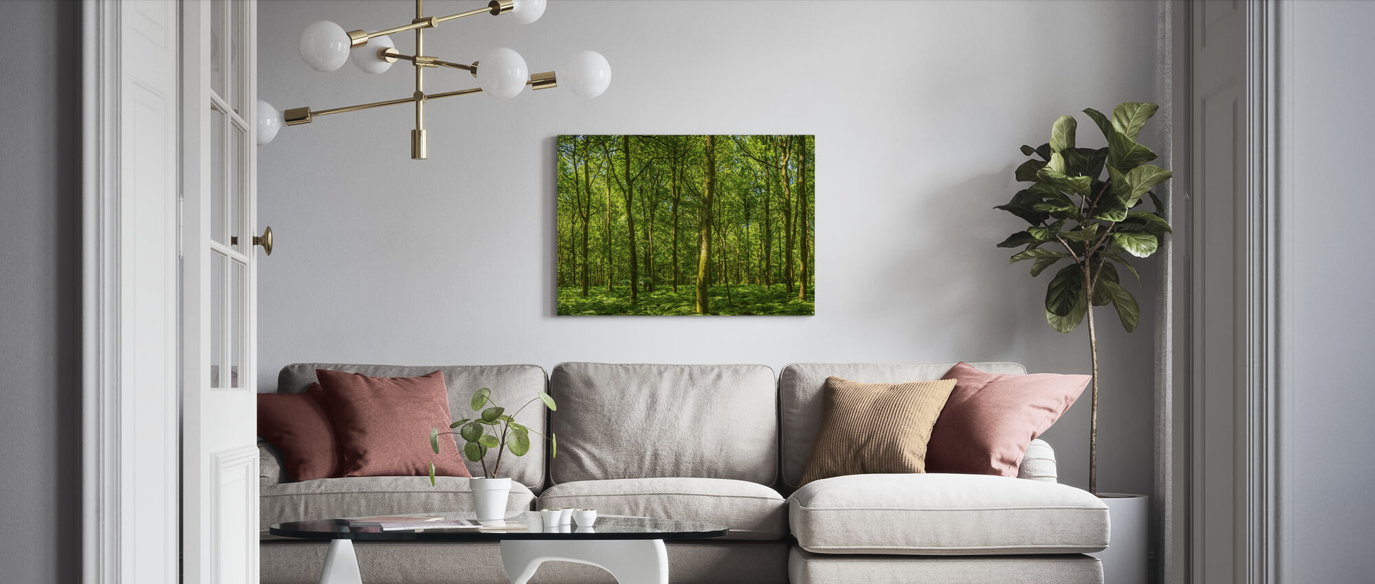 Szmaragdowy Zielony Las Panorama - Obraz na płótnie - Pokój dzienny