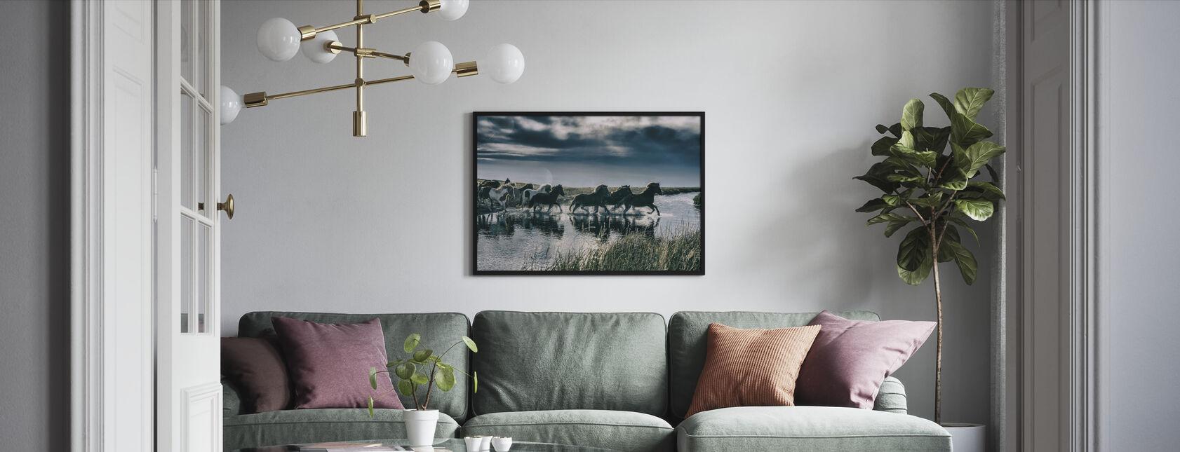 Flock of Icelandic Horses - Framed print - Living Room