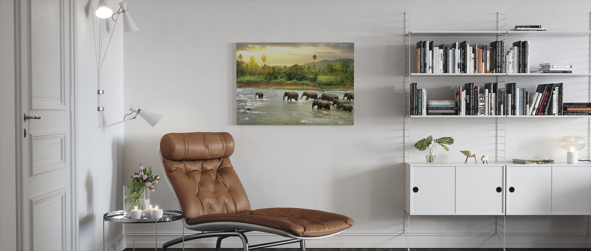 Wading Elephant Herd - Canvas print - Living Room