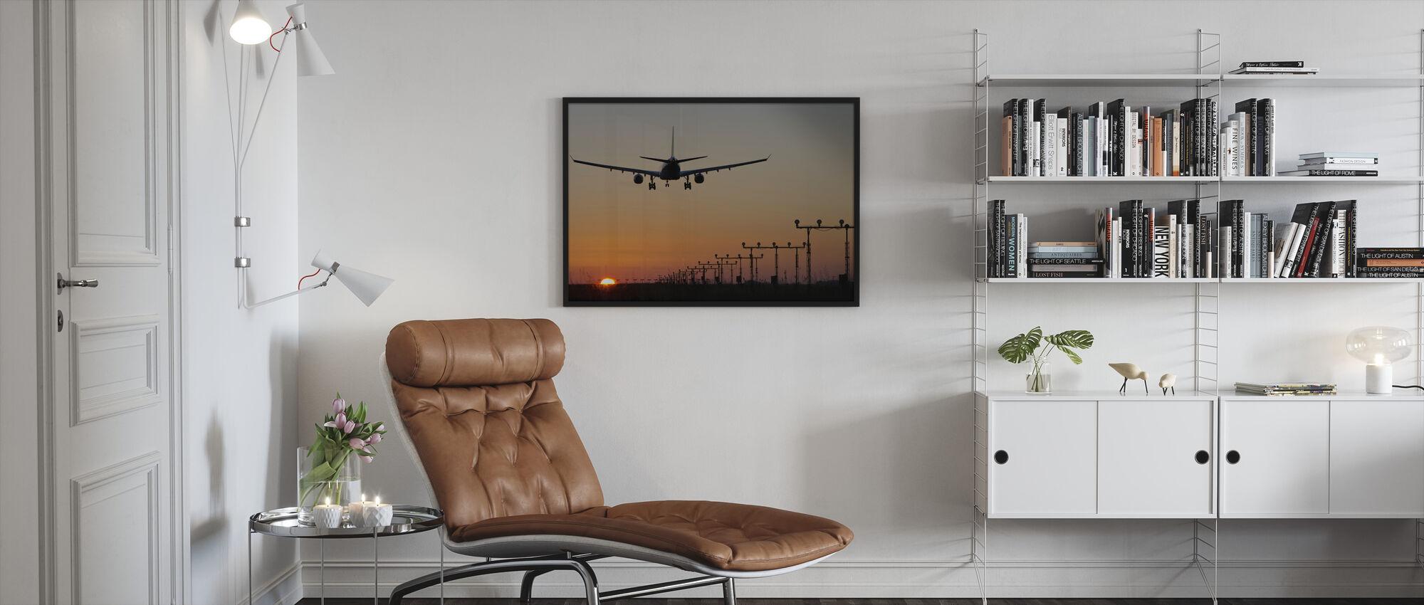 Solnedgang Landing - Innrammet bilde - Stue