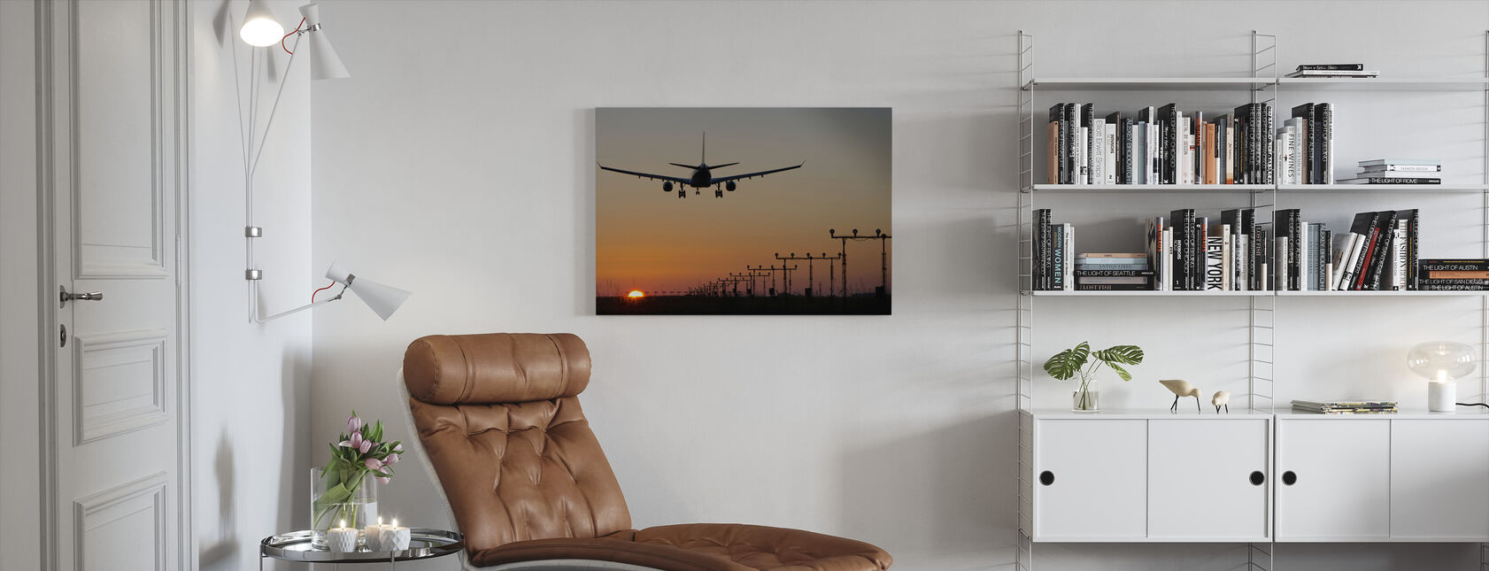 Solnedgang Landing - Lerretsbilde - Stue