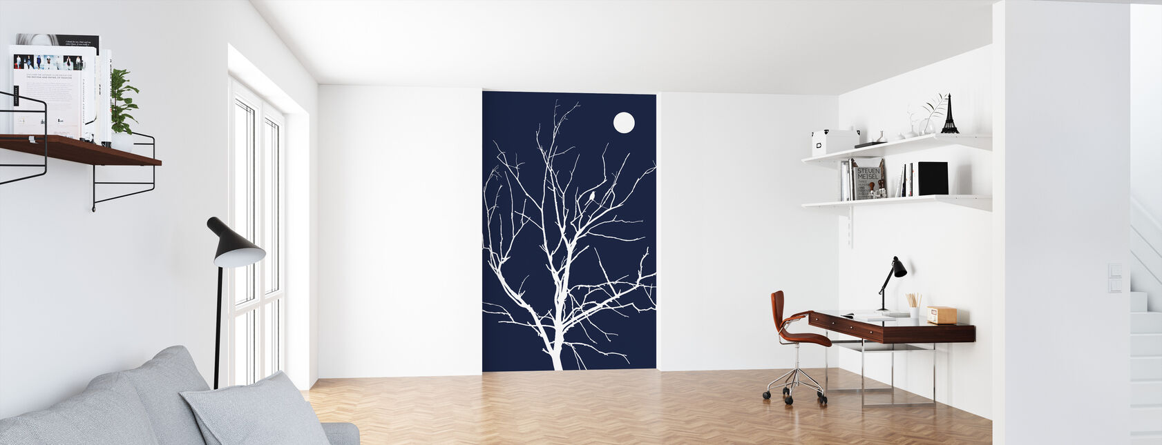 Lonely Bird Night Moon - Wallpaper - Office
