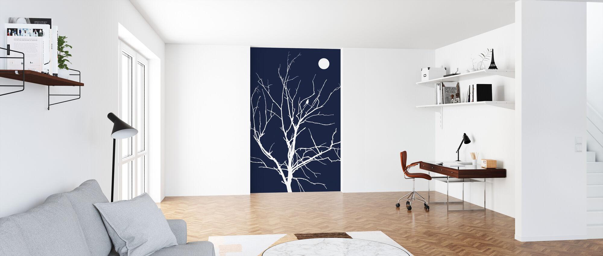 Ensom fugl natt månen - Tapet - Kontor