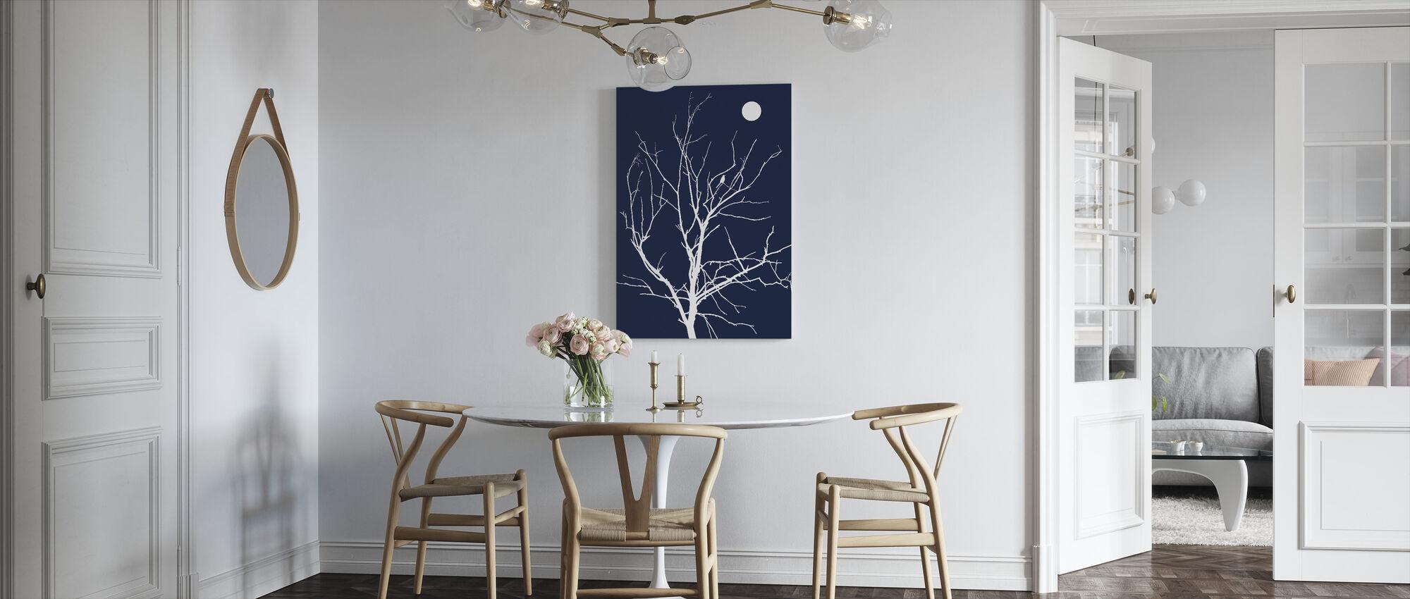 Eenzame vogel nacht maan - Canvas print - Keuken