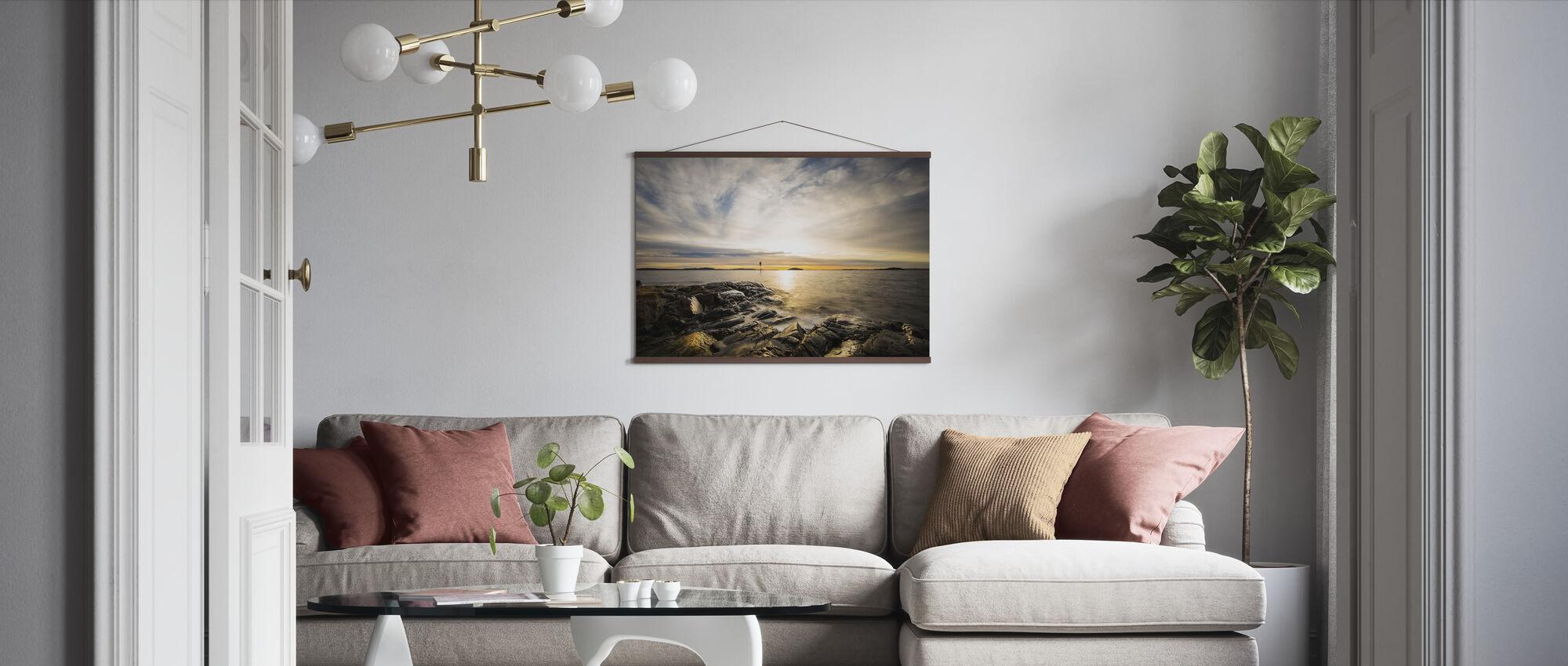 Zimowy zachód słońca - Plakat - Pokój dzienny