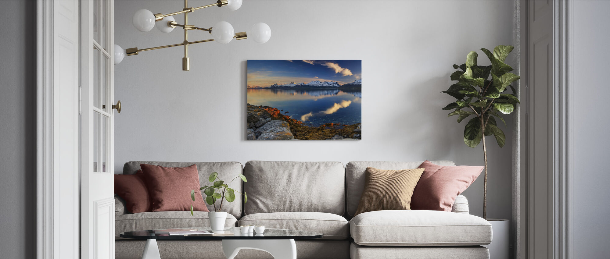Sunset on the Shore of the Fjord - Canvas print - Living Room