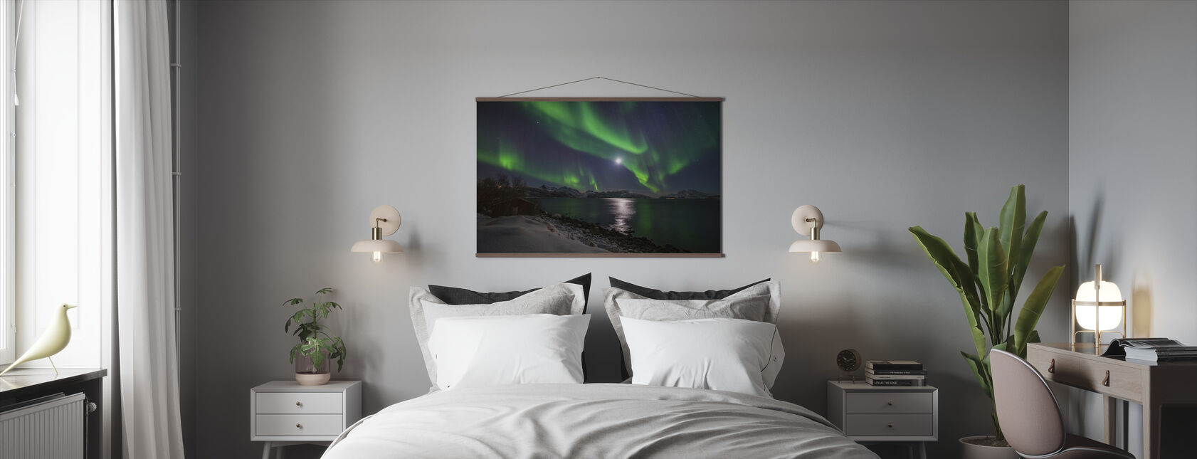 Nordlys over Troms Kyst, Norge - Plakat - Soverom