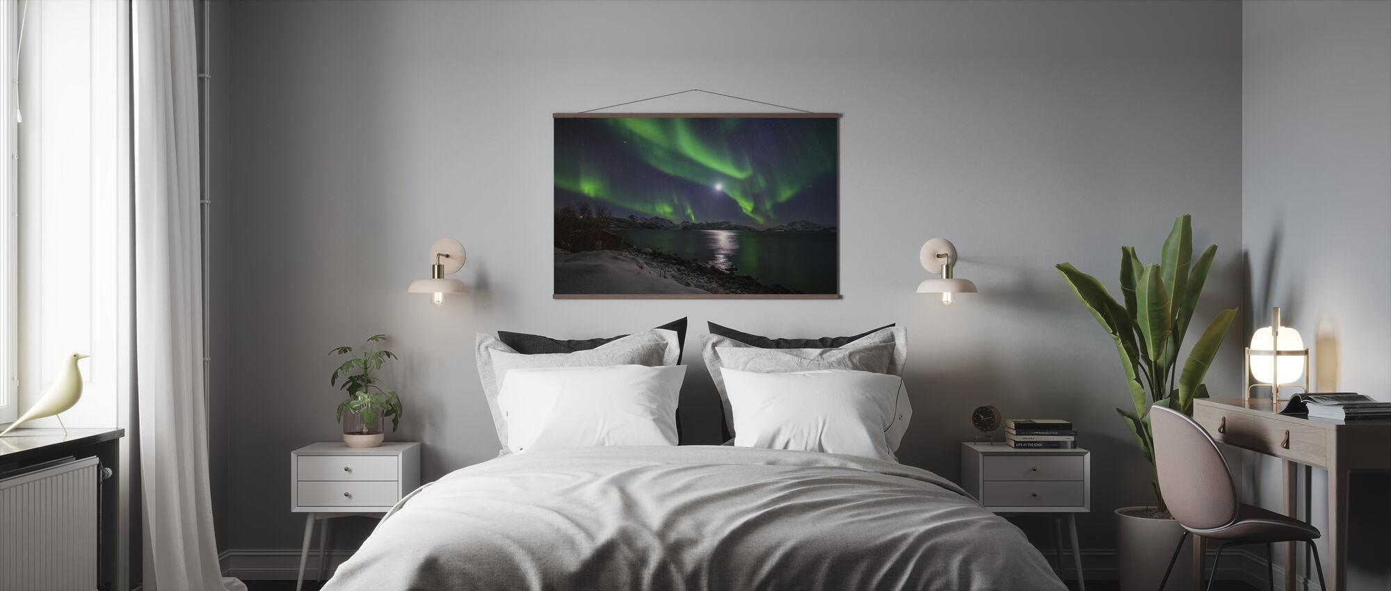 Pohjoinen valo Tromsin rannikolla, Norja - Juliste - Makuuhuone