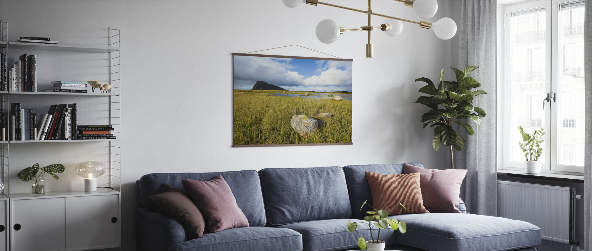 Rock formations in Grassy Coastline, Norway - Poster - Living Room