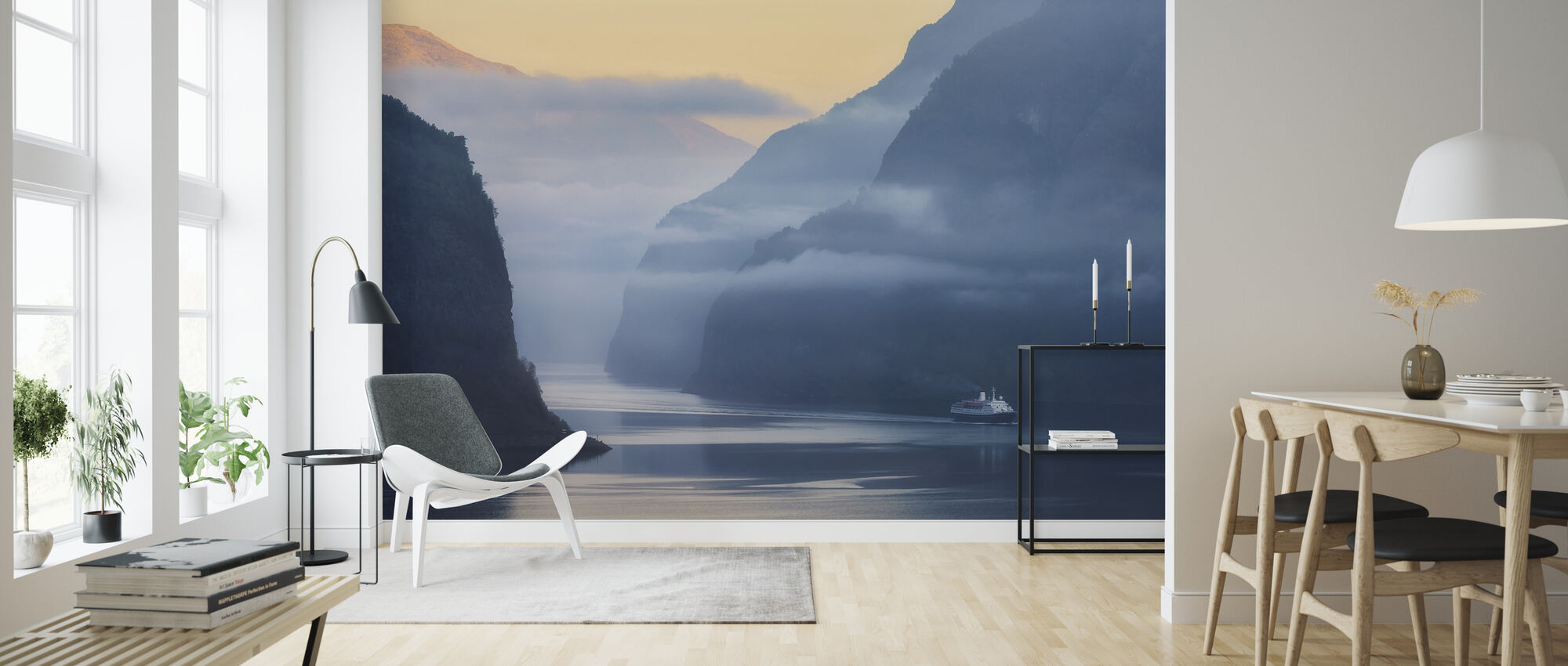 Norwegian Fjord in Fog - Wallpaper - Living Room