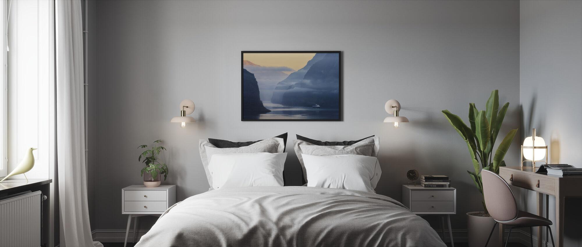 Norwegian Fjord in Fog - Framed print - Bedroom