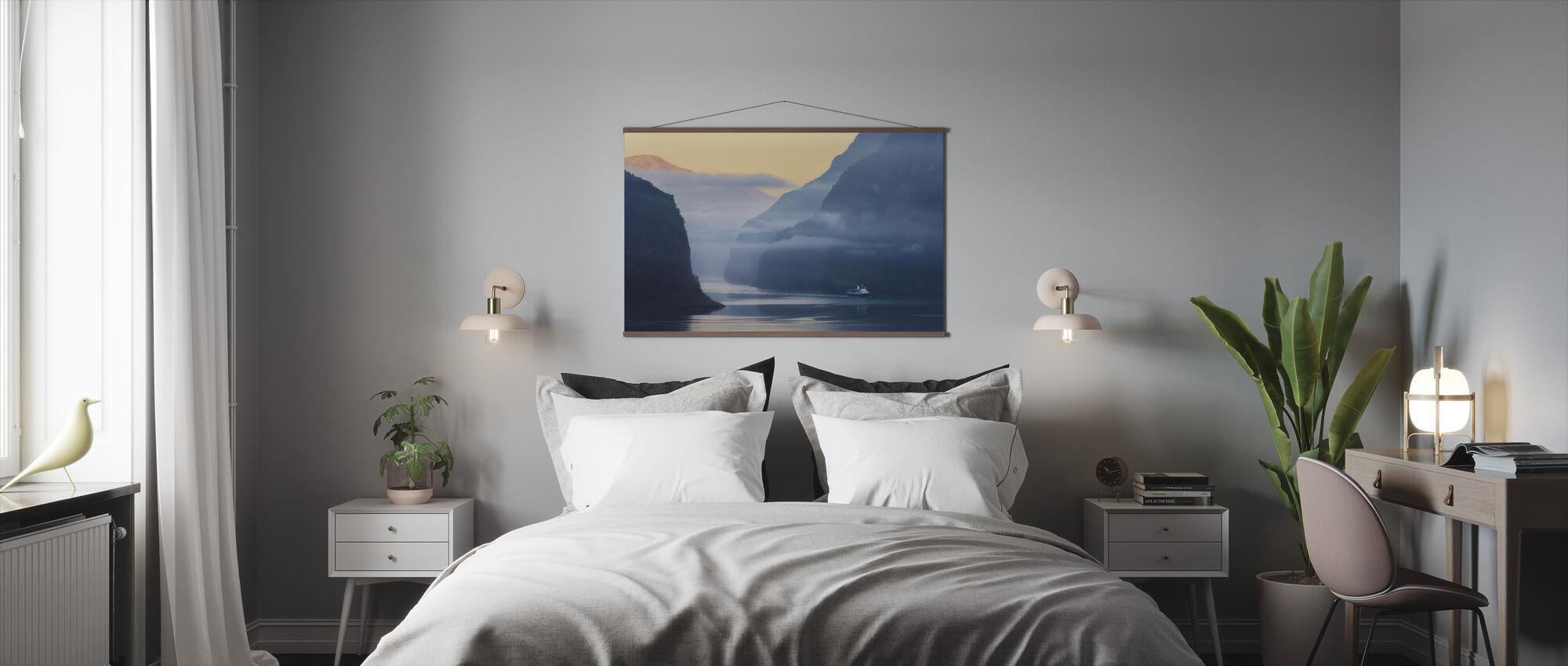 Norwegian Fjord in Fog - Poster - Bedroom