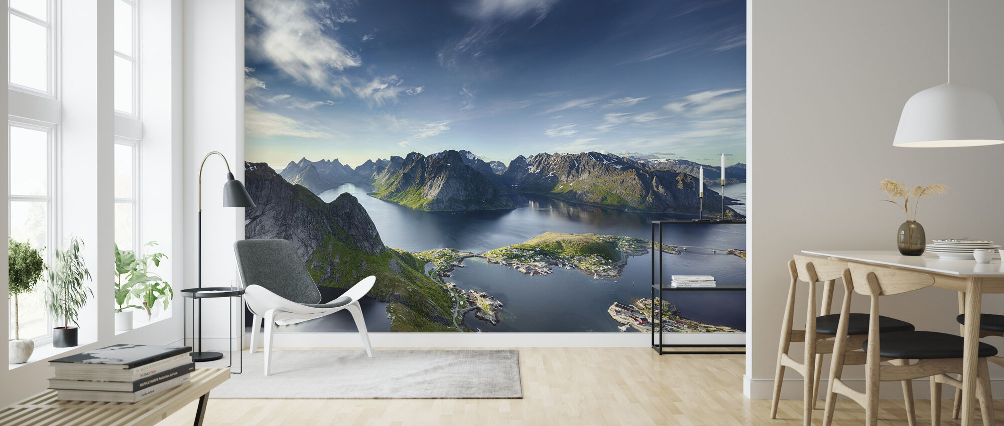 Panoramic View of Reine in Lofoten, Norway - Wallpaper - Living Room