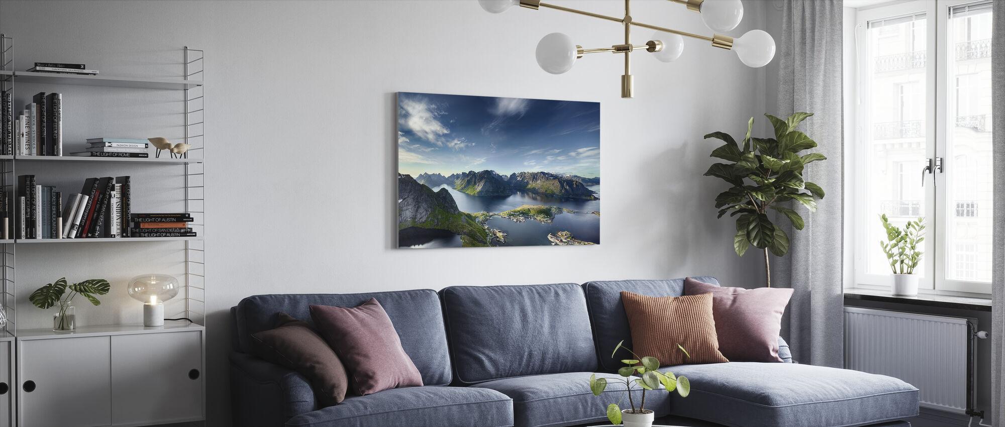 Panoramiczny widok na Reine w Lofoten, Norwegia - Obraz na płótnie - Pokój dzienny