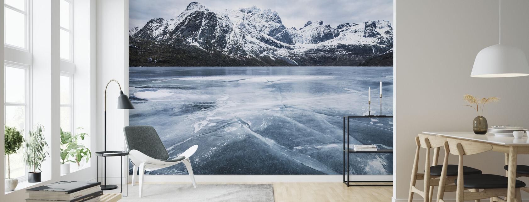 Gefrorenes Wasser und Gebirge - Tapete - Wohnzimmer