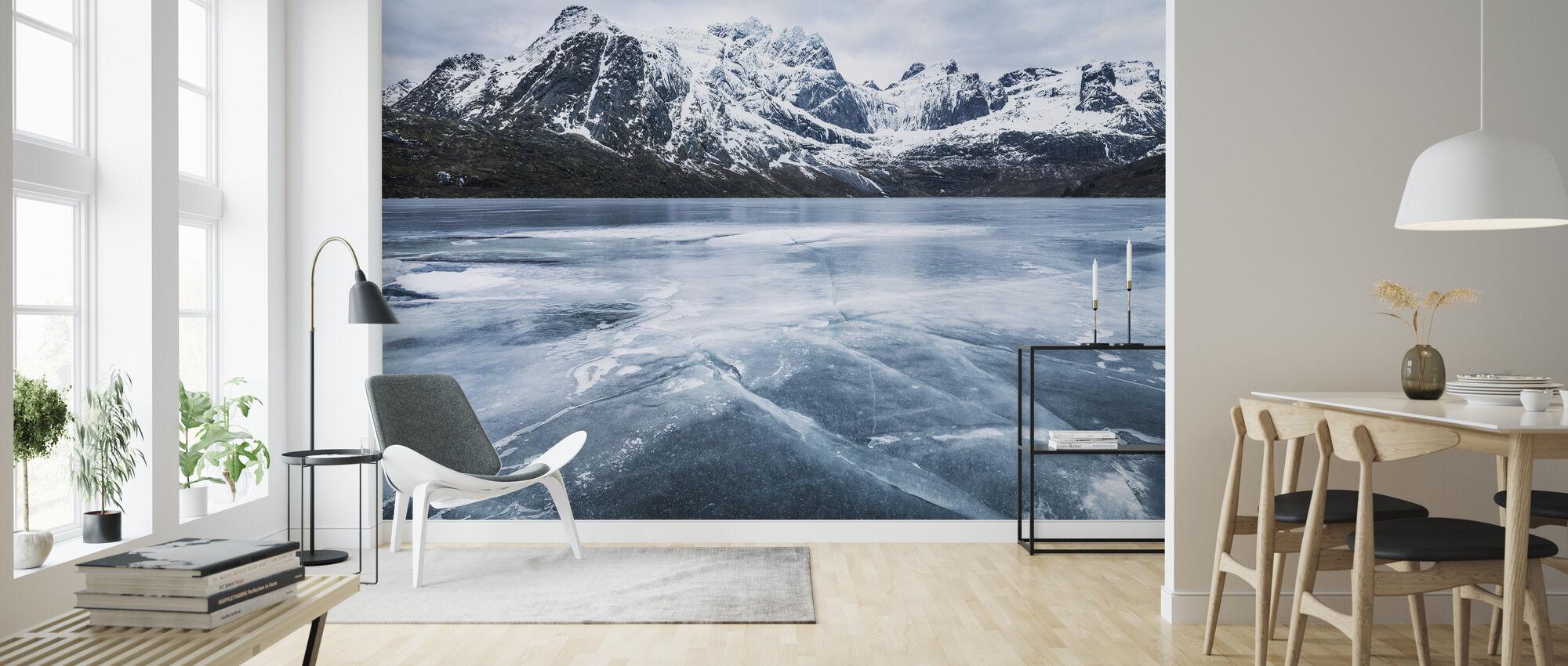 Frozen Water and Mountain Range - Wallpaper - Living Room